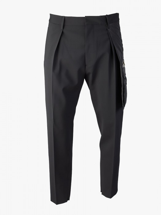 Dsquared2 black pleated pants with pocket detail