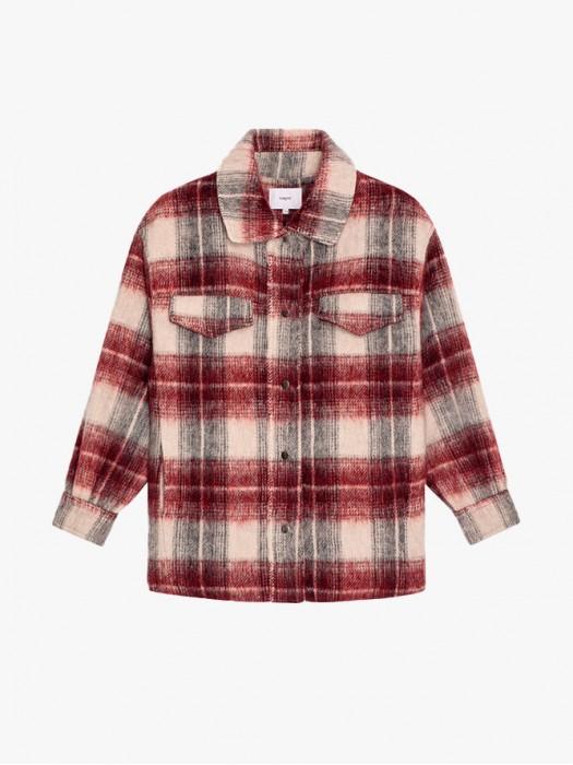 Suncoo emilia wool blended checked short coat
